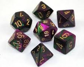 7-Die Set Gemini: Green-Purple/Gold - CHX26434 - Chessex