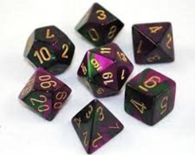 7-Die Set Gemini: Green-Purple/Gold - CHX26434 - Chessex