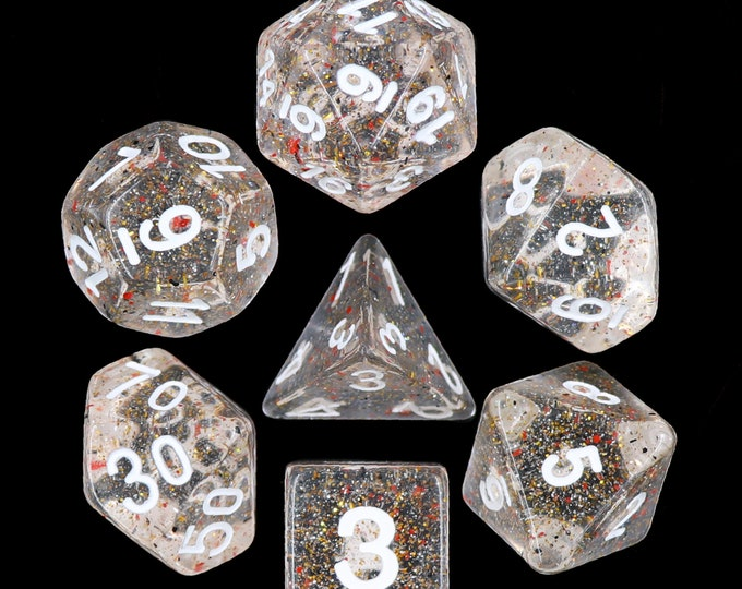 HDDice 7 Die Polyhedral Flaked Dice Set (Little Stars) - Purchasing Cooperative