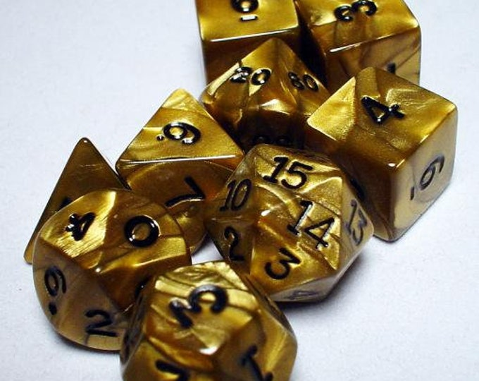 RPG Dice Sets: Gold/Black Olympic Polyhedral 10-Die Set