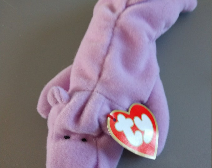 Happy the Hippo - Lavendar - Ty Teenie Beanie Babies - 1998 (Misprint)