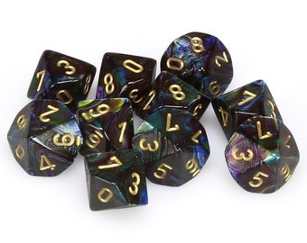 10d10 Lustrous: Shadow/Gold - CHX27299 - Chessex