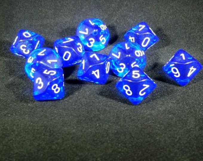 10d10 Translucent: Blue/White Polyhedral Dice Set - CHX23276 - Chessex