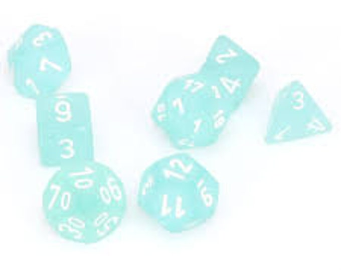 7-Die Set Frosted: Teal/White - CHX27405 - Chessex