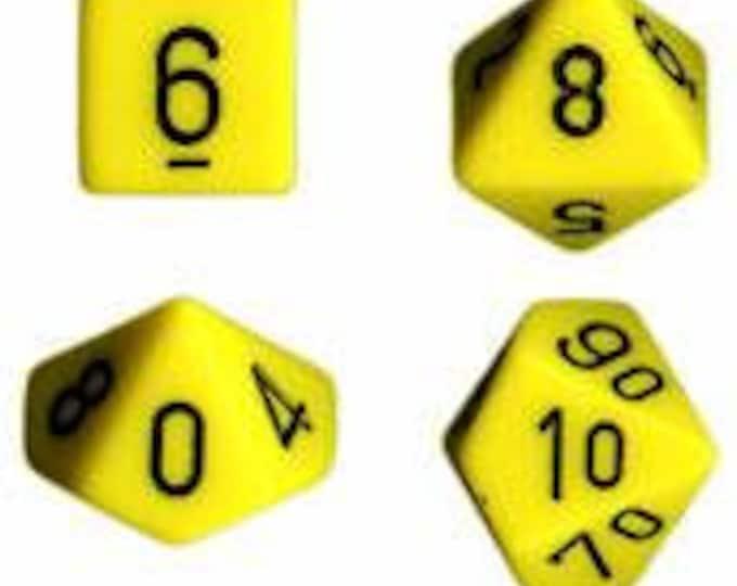 Yellow/Black Opaque Polyhedral 7-Die Set - CHX25402 - Chessex