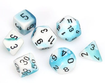 7-Die Set Gemini: Teal-White/Black - CHX26444 - Chessex