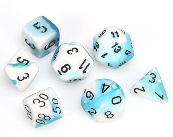 7-Die Set Gemini: Teal-White/Black - CHX26444 - Chessex