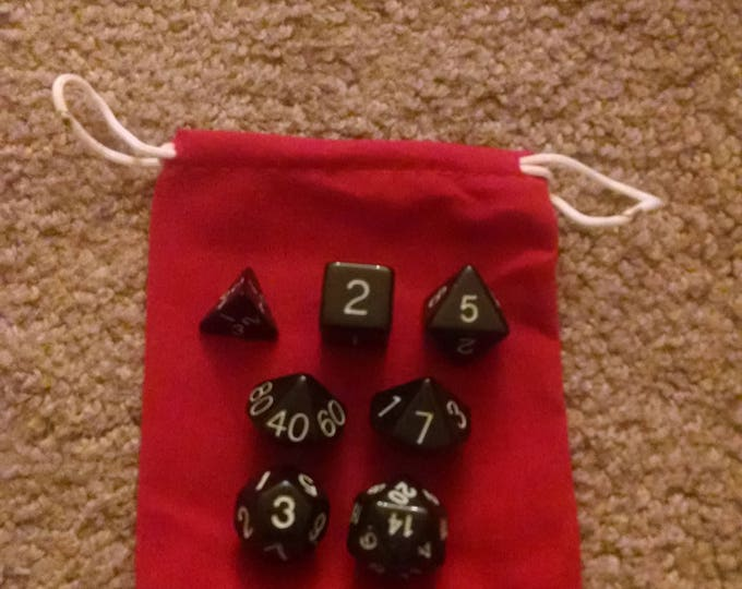 Solid Black - 7 Die Polyhedral Set with Pouch