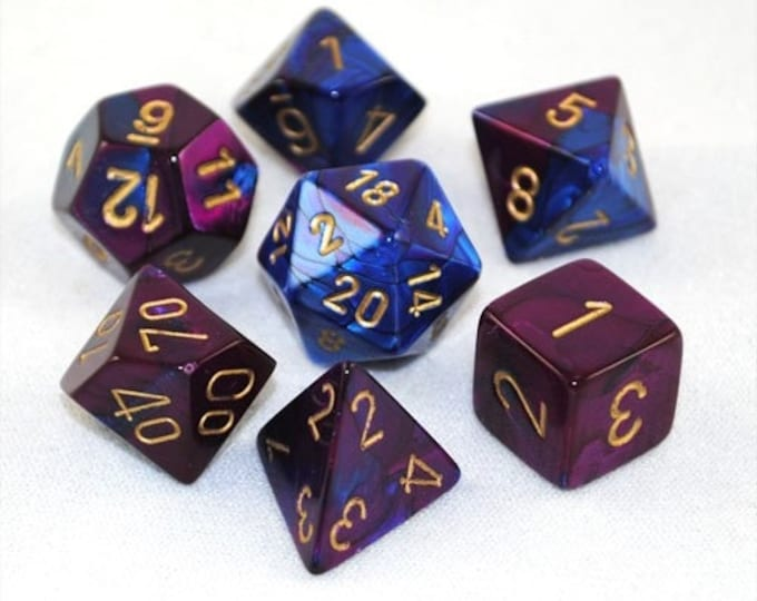 7-Die Set Gemini: Blue-Purple/Gold - CHX26428 - Chessex