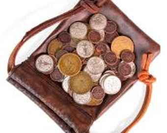 Stratagem Dragon's Hoard: 60 Metal Coins in Leather Pouch