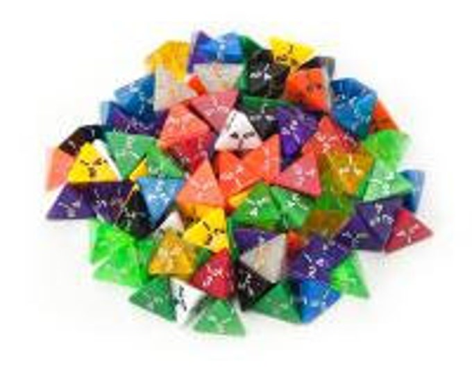 WizDice 100+ Pack of Random D4 Polyhedral Dice in Multiple Colors