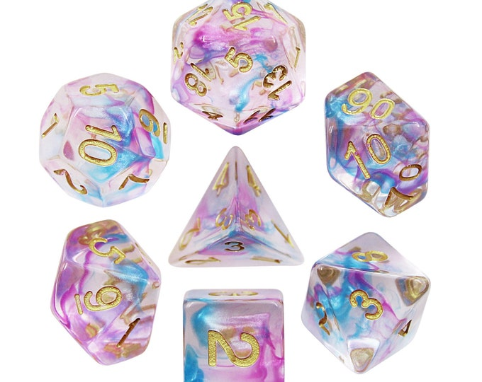 HDDice 7 Die Polyhedral Pearl Swirl Dice Set (Purple-Blue/White) - Purchasing Cooperative