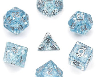 Udixi 7 Die Polyhedral Glitter Stars Series Dice Set (Blue/Silver) - Purchasing Cooperative