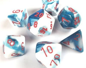 7-Die Set Gemini: Astral Blue-White/Red - CHX26457 - Chessex