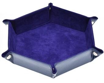 Udixi 11.5''x9.5' 'Purple Velvet Folding Hexagonal Dice Tray with Polyurethane Leather Backing - Purchasing Cooperative