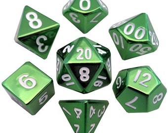 7-Die Set Metal: Green Painted - MTD010 - Metallic Dice Games