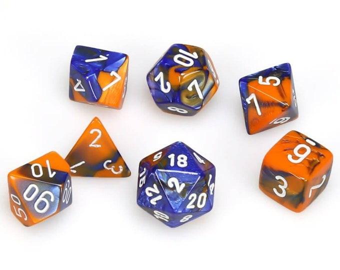 7-Die Set Gemini: Blue-Orange/White - CHX26452 - Chessex