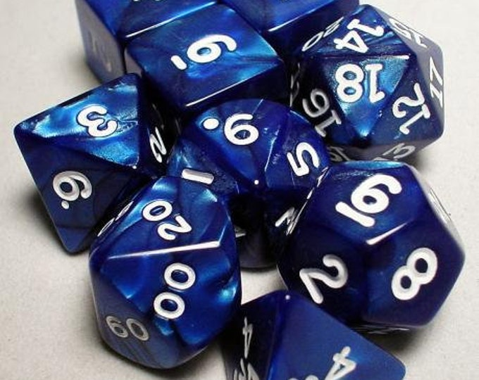 RPG Dice Sets: Navy/White Pearlized Polyhedral 10-Die Set