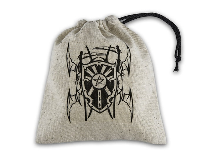 Dice Accessories: Vampire Beige & Black Basic Dice Bag - Q-Workshop