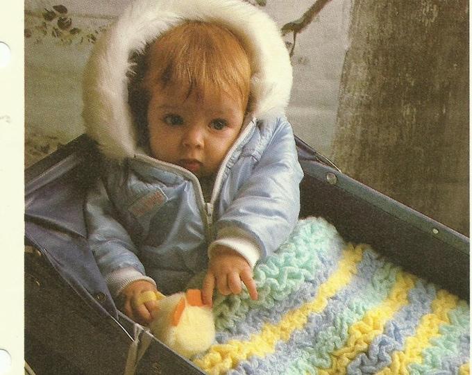 Ruffled baby blanket crochet pattern digital download