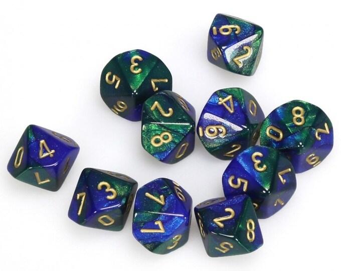10d10 Gemini: Blue-Green/Gold - CHX26236 - Chessex