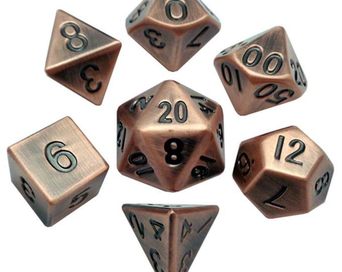 7-Die Set Metal: Antique Copper - MTD007 - Metallic Dice Games