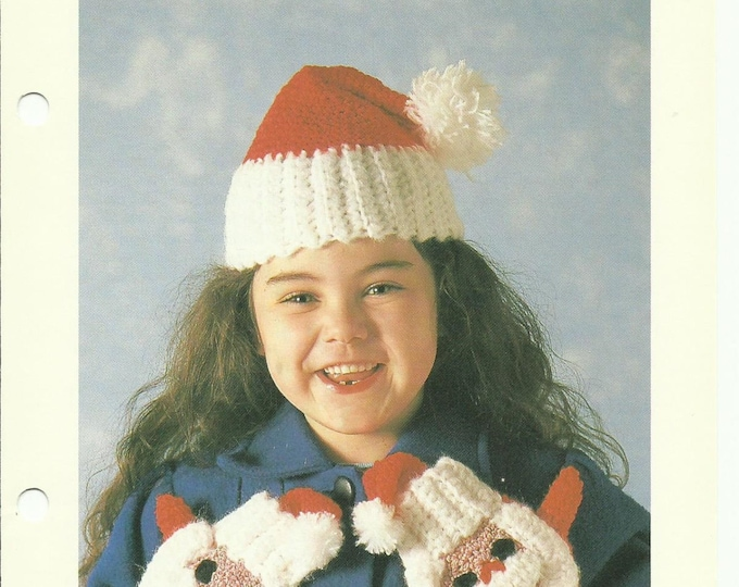 Child's Santa Hat and Mittens crochet pattern download