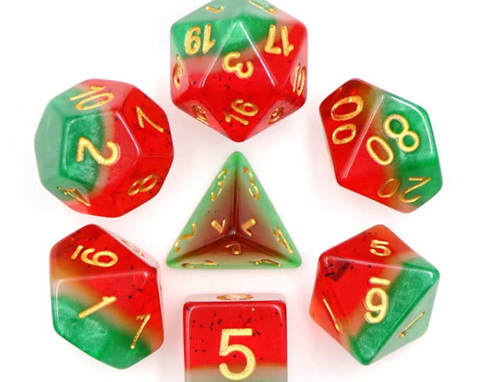 HDDice 7 Die Polyhedral Layered Dice Set (Watermelon - Green/White/Red) - Purchasing Cooperative
