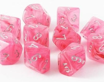 10d10 Ghostly Glow: Pink/Silver - CHX7324 - Chessex