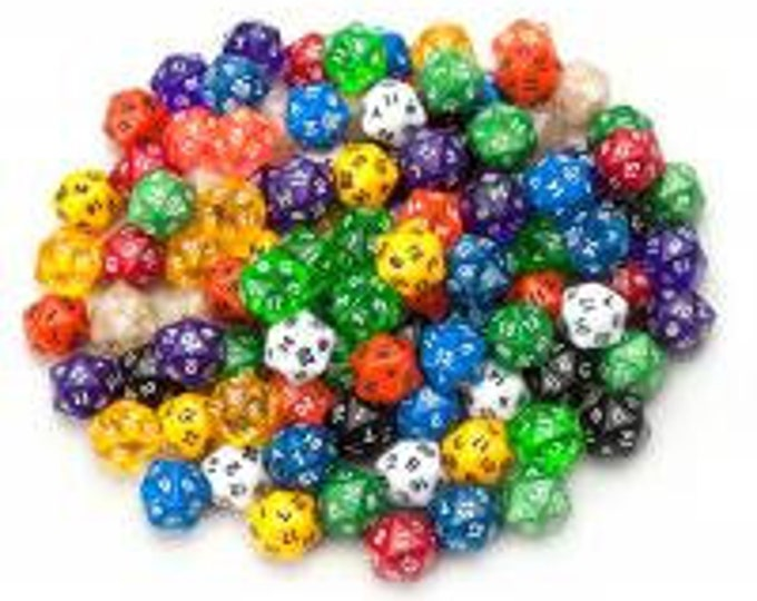 WizDice 100+ Pack of Random D20 Polyhedral Dice in Multiple Colors