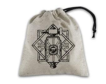 Dice Accessories: Dwarven Beige & Black Basic Dice Bag - Q-Workshop