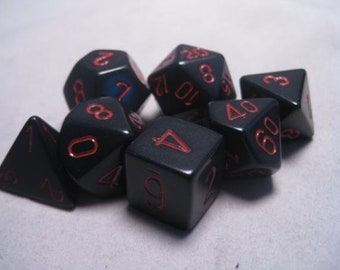 Black/Red Opaque Polyhedral 7-Die Set - CHX25418 - Chessex