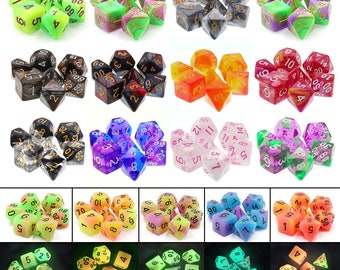 HDDice Blend and Glow 7 Die Polyhedral Dice Set Pack (20 Sets) - Purchasing Cooperative