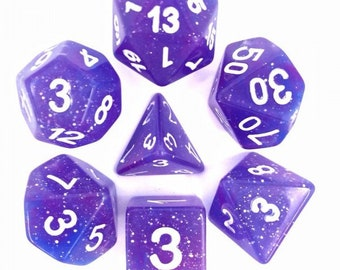 HDDice 7 Die Polyhedral Galaxy Dice Set (Blue and Purple) - Purchasing Cooperative