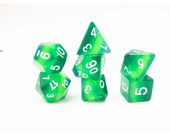 HDDice 7 Die Polyhedral Layered Dice Set (Translucent Green Gradients) - Purchasing Cooperative