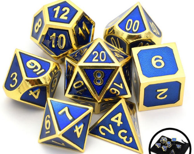 Besglo 7 Die Polyhedral Metallic Enamelled Number Dice Set (Blue/Gold) - Purchasing Cooperative