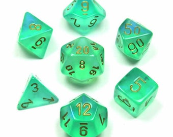 7-Die Set Borealis: Light Green/Gold - CHX27425 - Chessex