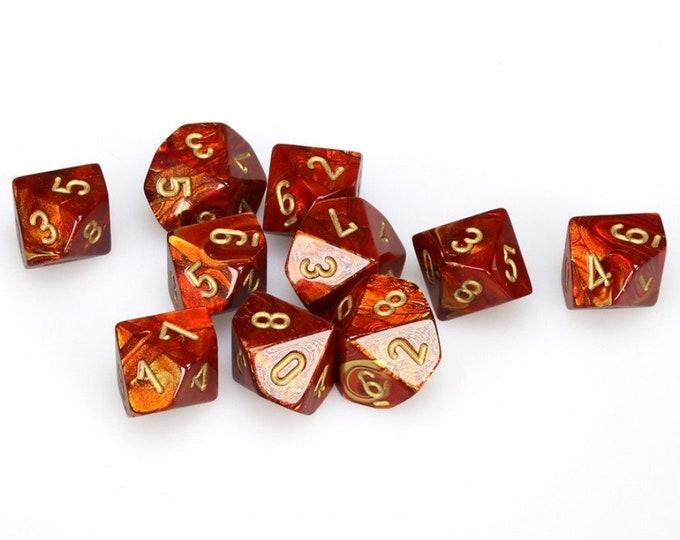 10d10 Scarab: Scarlet/Gold - CHX27214 - Chessex