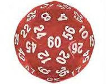 Unusual Dice - Red d60 Die with White Numbers