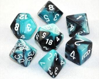7-Die Set Gemini: Black-Shell/White - CHX26446 - Chessex