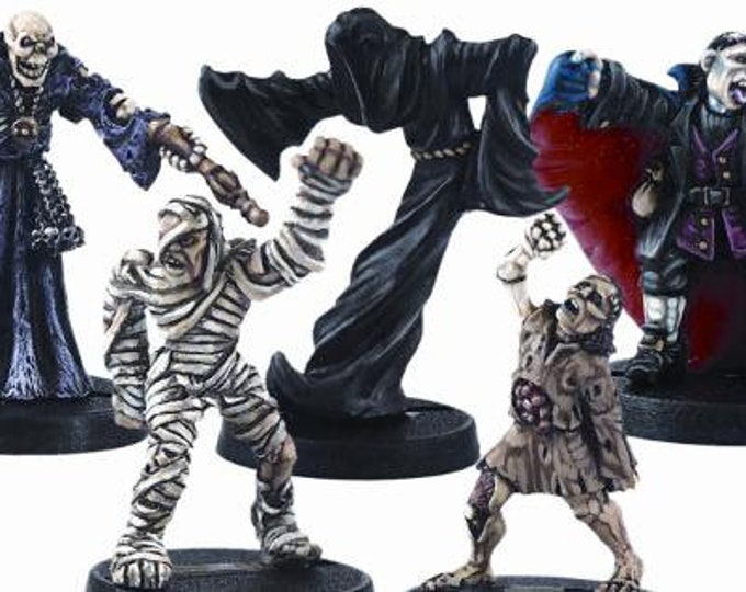 Undead Miniatures Set #1 (5) Solid Pewter, Fully Painted - 40211 - Crystal Caste