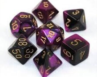 7-Die Set Gemini: Black-Purple/Gold - CHX26440 - Chessex