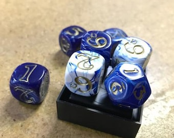 The One Ring RPG: One Ring Dice Set - Blue and White - Cubicle 7 Entertainment