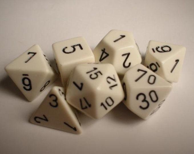 White/Black Opaque Polyhedral 7-Die Set - CHX25401 - Chessex