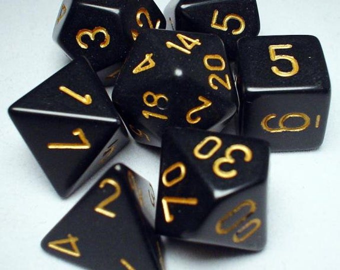 Black/Gold Opaque Polyhedral 7-Die Set - CHX25428 - Chessex