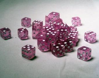 Square Cornered Dice: Purple/White Translucent 12mm d6 (36)