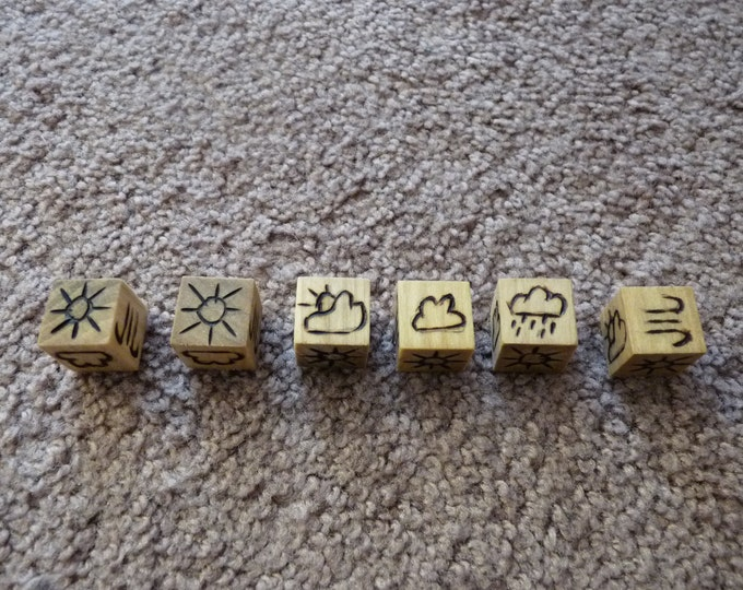Wood Cut Dice - Random Weather Die (D20/Dungeons and Dragons)