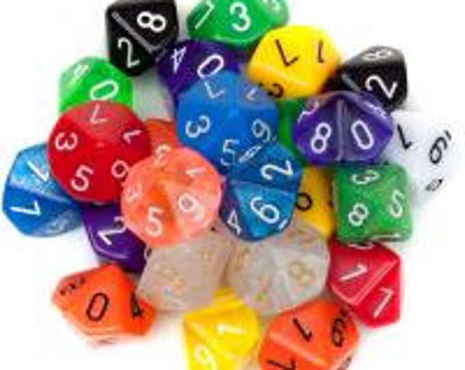 WizDice 25 Pack of Random D10 Polyhedral Dice in Multiple Colors