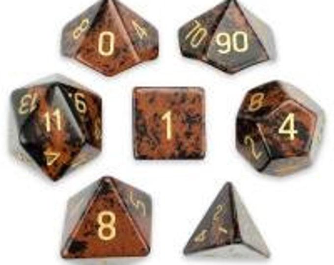 WizDice Set of 7 Handmade Stone Polyhedral Dice (Mahogany Obsidian)
