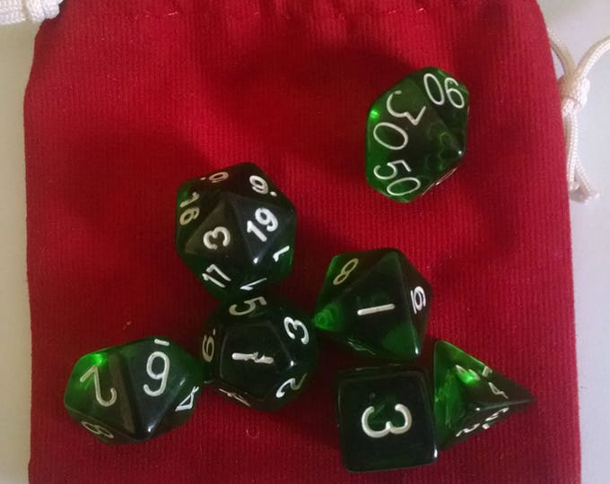 Shady Green - 7 Die Polyhedral Set with Pouch
